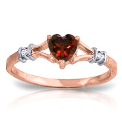 ALARRI 0.47 Carat 14K Solid Rose Gold Rings Natural Diamond Garnet
