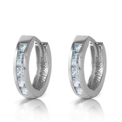 ALARRI 0.85 CTW 14K Solid White Gold Hoop Huggie Earrings Aquamarine