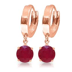 ALARRI 2.5 Carat 14K Solid Rose Gold Hoop Ruby Drop Earrings