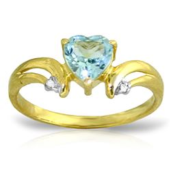ALARRI 0.96 Carat 14K Solid Gold Slant Of Light Blue Topaz Diamond Ring
