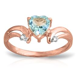 ALARRI 0.96 Carat 14K Solid Rose Gold Heart Blue Topaz Diamond Ring