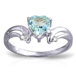 ALARRI 0.96 Carat 14K Solid White Gold Open Your Heart Blue Topaz Diamond Ring
