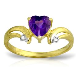 ALARRI 0.96 Carat 14K Solid Gold Boost Your Mood Amethyst Diamond Ring