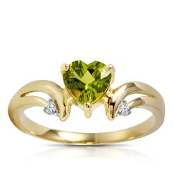 ALARRI 1.26 Carat 14K Solid Gold Ring Diamond Peridot