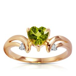 ALARRI 1.26 Carat 14K Solid Rose Gold Ring Diamond Peridot