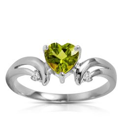 ALARRI 1.26 Carat 14K Solid White Gold Ring Diamond Peridot