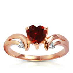 ALARRI 1.26 Carat 14K Solid Rose Gold Ring Diamond Garnet