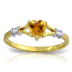 ALARRI 0.47 Carat 14K Solid Gold Rings Natural Diamond Citrine