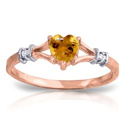 ALARRI 0.47 Carat 14K Solid Rose Gold Rings Natural Diamond Citrine