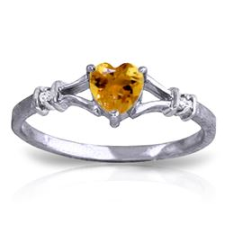 ALARRI 0.47 Carat 14K Solid White Gold Rings Natural Diamond Citrine