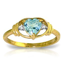 ALARRI 0.96 CTW 14K Solid Gold Rendezvous Blue Topaz Diamond Ring