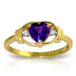 ALARRI 0.96 Carat 14K Solid Gold I Amethyst Love Amethyst Diamond Ring