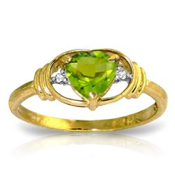 ALARRI 0.61 Carat 14K Solid Gold Love Prerequisite Peridot Diamond Ring