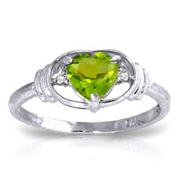 ALARRI 0.61 Carat 14K Solid White Gold Think Of Fairness Peridot Diamond Ring