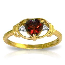 ALARRI 0.96 CTW 14K Solid Gold January Is Here Garnet Diamond Ring