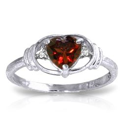 ALARRI 0.96 CTW 14K Solid White Gold Love So High Garnet Diamond Ring