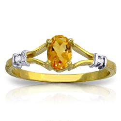 ALARRI 0.46 Carat 14K Solid Gold Ring Natural Diamond Citrine