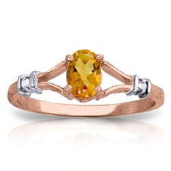 ALARRI 0.46 Carat 14K Solid Rose Gold Ring Natural Diamond Citrine