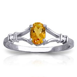 ALARRI 0.46 CTW 14K Solid White Gold Ring Natural Diamond Citrine