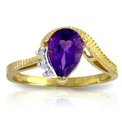 ALARRI 1.52 Carat 14K Solid Gold Ring Diamond Purple Amethyst