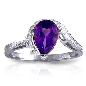 ALARRI 1.52 CTW 14K Solid White Gold Ring Diamond Purple Amethyst
