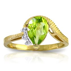 ALARRI 1.52 CTW 14K Solid Gold Love Stems Peridot Diamond Ring