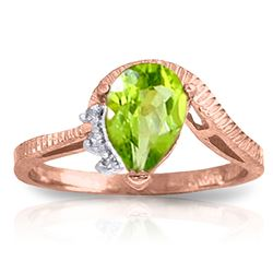 ALARRI 1.52 Carat 14K Solid Rose Gold Azur Peridot Diamond Ring