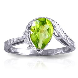 ALARRI 1.52 Carat 14K Solid White Gold Outstretched Hand Peridot Diamond Ring