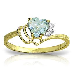 ALARRI 0.97 Carat 14K Solid Gold Ring Natural Diamond Aquamarine