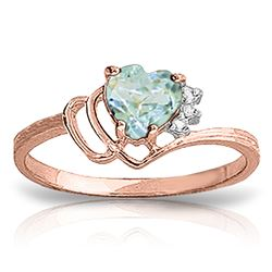 ALARRI 0.97 Carat 14K Solid Rose Gold Ring Natural Diamond Aquamarine