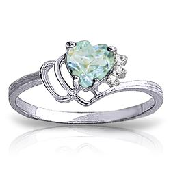 ALARRI 0.97 Carat 14K Solid White Gold Ring Natural Diamond Aquamarine
