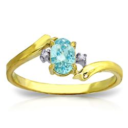 ALARRI 0.46 Carat 14K Solid Gold Rings Natural Diamond Blue Topaz