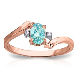 ALARRI 0.46 Carat 14K Solid Rose Gold Rings Natural Diamond Blue Topaz