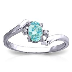 ALARRI 0.46 CTW 14K Solid White Gold Rings Natural Diamond Blue Topaz