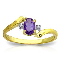 ALARRI 0.46 CTW 14K Solid Gold Purple Waters Amethyst Diamond Ring