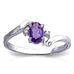 ALARRI 0.46 Carat 14K Solid White Gold I Feel Joy Amethyst Diamond Ring