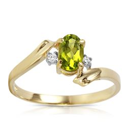 ALARRI 0.46 Carat 14K Solid Gold Rings Natural Diamond Peridot