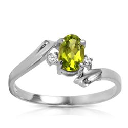 ALARRI 0.46 Carat 14K Solid White Gold Rings Natural Diamond Peridot