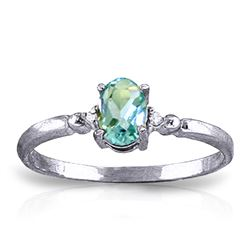ALARRI 0.46 CTW 14K Solid White Gold Glimpse Into Life Blue Topaz Diamond Ring