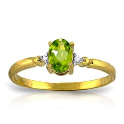 ALARRI 0.46 CTW 14K Solid Gold My Better Half Peridot Diamond Ring