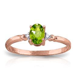 ALARRI 0.46 CTW 14K Solid Rose Gold Young Love Peridot Diamond Ring