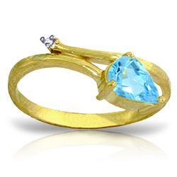 ALARRI 0.83 Carat 14K Solid Gold Love Can't Hurt Blue Topaz Diamond Ring