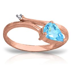 ALARRI 0.83 Carat 14K Solid Rose Gold Snake Charm Blue Topaz Diamond Ring