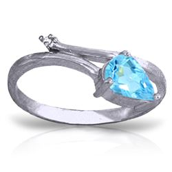 ALARRI 0.83 Carat 14K Solid White Gold Swinging Fully Blue Topaz Diamond Ring