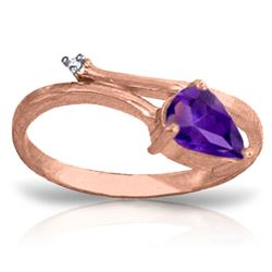 ALARRI 0.83 CTW 14K Solid Rose Gold Snake Charm Amethyst Diamond Ring