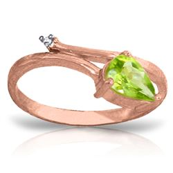 ALARRI 0.83 Carat 14K Solid Rose Gold Snake Charm Peridot Diamond Ring