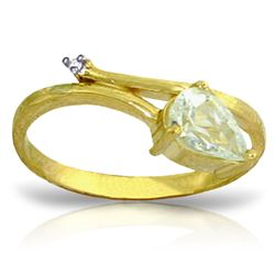 ALARRI 0.83 Carat 14K Solid Gold Aquamarine Rules Aquamarine Diamond Ring