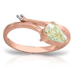 ALARRI 0.83 CTW 14K Solid Rose Gold Snake Charm Aquamarine Ring
