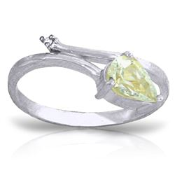 ALARRI 0.83 Carat 14K Solid White Gold Love Calender Aquamarine Diamond Ring
