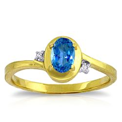 ALARRI 0.51 Carat 14K Solid Gold Rings Diamond Blue Topaz